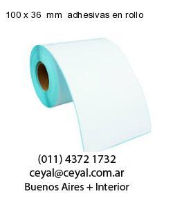 100 x 36  mm  adhesivas en rollo