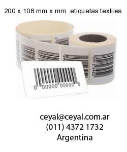 200 x 108 mm x mm  etiquetas textiles