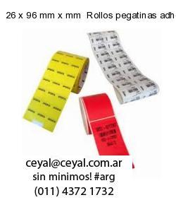 26 x 96 mm x mm  Rollos pegatinas adhesivas