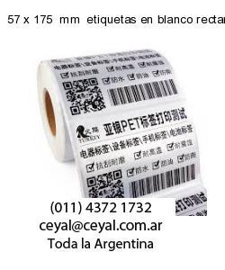 57 x 175  mm  etiquetas en blanco rectangulares