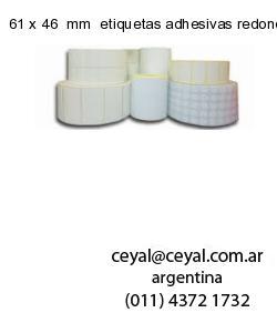 61 x 46  mm  etiquetas adhesivas redondas