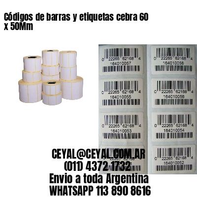 Códigos de barras y etiquetas cebra 60 x 50Mm