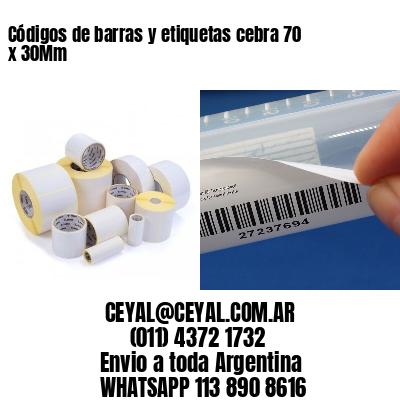 Códigos de barras y etiquetas cebra 70 x 30Mm