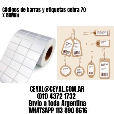 Códigos de barras y etiquetas cebra 70 x 80Mm