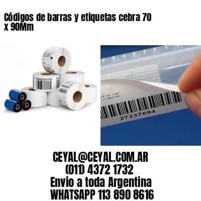 Códigos de barras y etiquetas cebra 70 x 90Mm