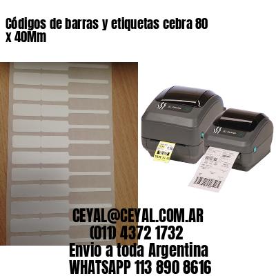 Códigos de barras y etiquetas cebra 80 x 40Mm
