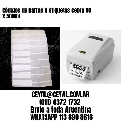 Códigos de barras y etiquetas cebra 80 x 50Mm