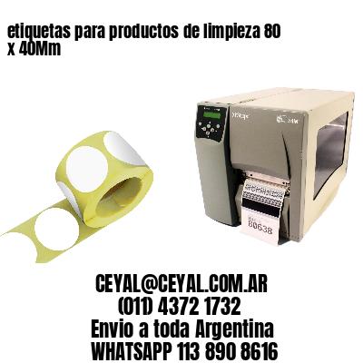 etiquetas para productos de limpieza 80 x 40Mm