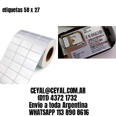 etiquetas 58 x 27